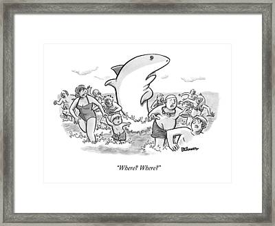 Someone Has Just Yelled Shark! At The Beach Framed Print