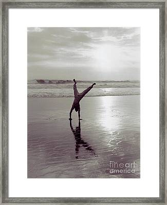 Somersalting On Bali Black Sand Beach 2 Framed Print