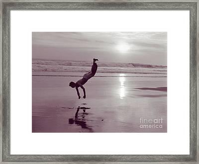 Somersalting On Bali Black Sand Beach Framed Print