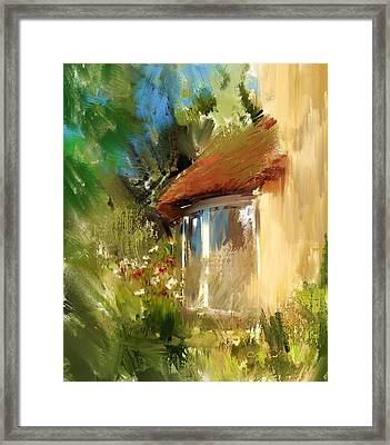 Somerset Thatched Cottage Window  Framed Print