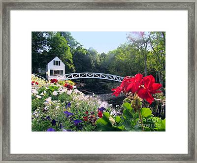 Somesville Bridge And Home Framed Print by Elizabeth Dow