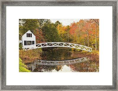 Somesville Bridge In Autumn Mount Desert Island Maine Framed Print