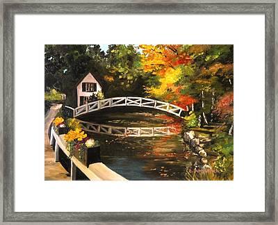 Somesville Maine Footbridge Framed Print by Eileen Patten Oliver