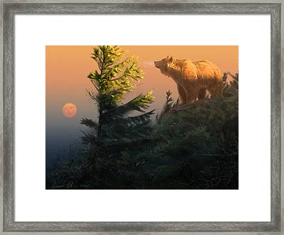 Framed Print featuring the digital art Something On The Air - Grizzly by Aaron Blaise