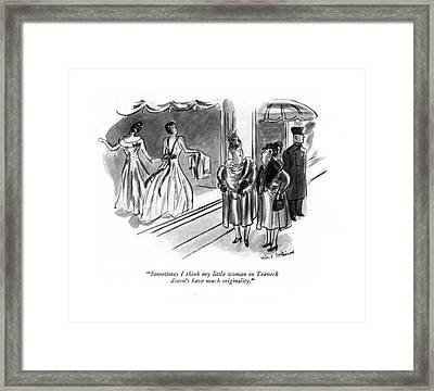 Sometimes I Think My Little Woman In Teaneck Framed Print by Helen E. Hokinson
