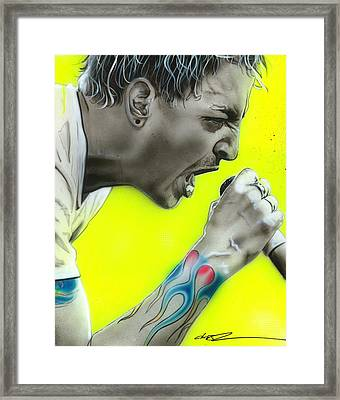 Chester Bennington - ' Somewhere I Belong ' Framed Print by Christian Chapman Art