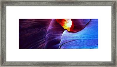 Framed Print featuring the photograph Somewhere In America Series - Blue In Antelope Canyon by Lilia D