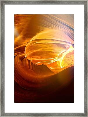 Framed Print featuring the photograph Somewhere In America Series - Gold Colors In Antelope Canyon by Lilia D