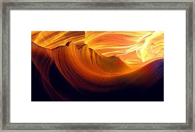 Framed Print featuring the photograph Somewhere In America Series - Golden Yellow Light In Antelope Canyon by Lilia D