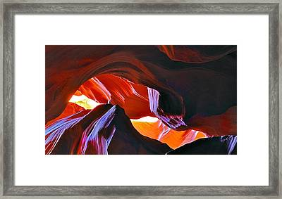 Framed Print featuring the photograph Somewhere In Waves In Antelope Canyon by Lilia D