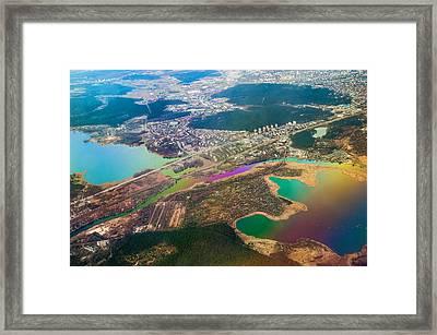 Somewhere Over Latvia. Rainbow Earth Framed Print