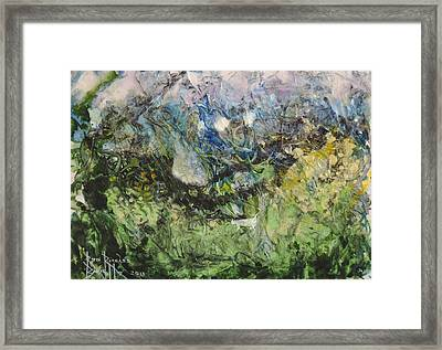 Framed Print featuring the painting Somewhere by Ron Richard Baviello