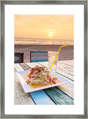 Somtum Thai Salad Framed Print by Atiketta Sangasaeng
