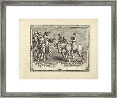 Son On The Back Of The Donkey, The Father On Foot Framed Print