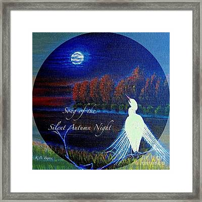 Song Of The Silent  Autumn Night In The Round With Text  Framed Print by Kimberlee Baxter