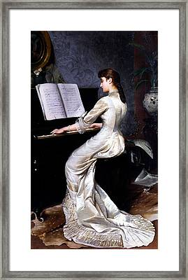 Song Without Words, Piano Player, 1880 Framed Print by George Hamilton Barrable