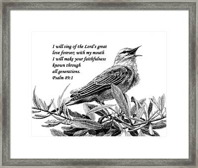 Songbird Drawing With Scripture Framed Print by Janet King