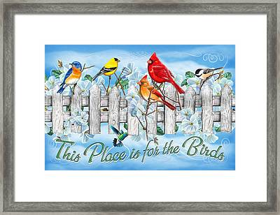 Songbirds Fence Framed Print by JQ Licensing