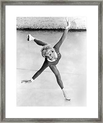 Sonia Henie Glides On Ice Framed Print by Underwood Archives