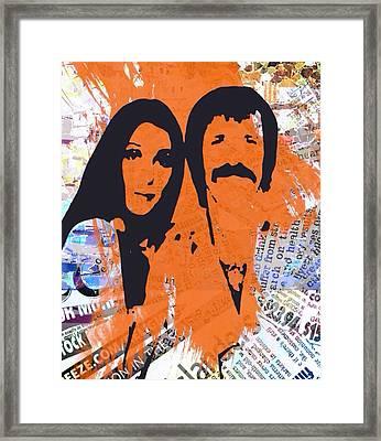 Sonny And Cher Framed Print by Trisha Buchanan