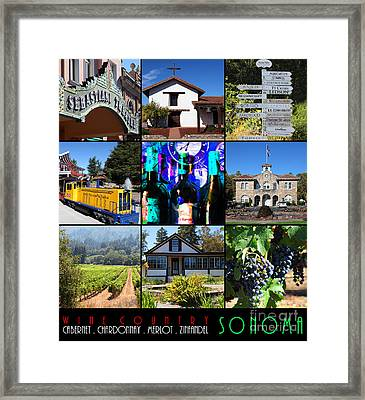 Sonoma County Wine Country 20140906 With Text Framed Print