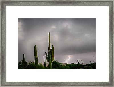 Sonoran Monsoon Lightning Thunderstorm Delight Framed Print