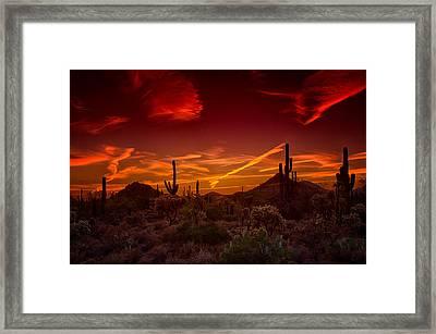 Sonoran Skies On Fire  Framed Print