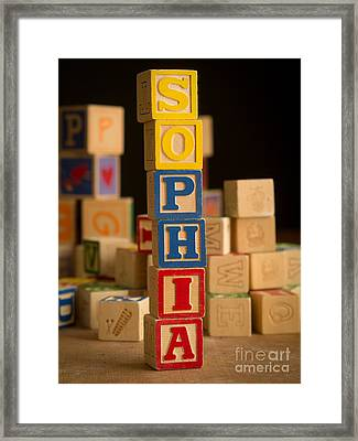 Sophia - Alphabet Blocks Framed Print by Edward Fielding
