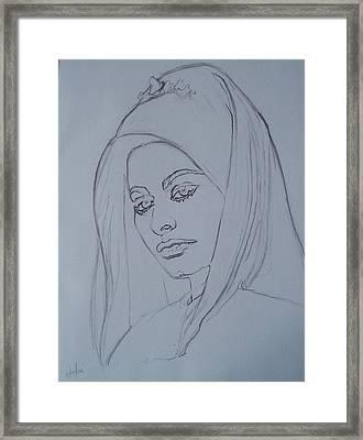 Sophia Loren In Headdress Framed Print