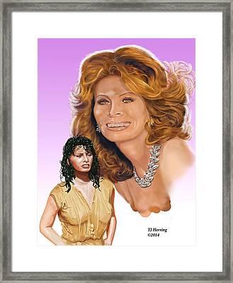 Framed Print featuring the digital art Sophia Loren by Thomas J Herring