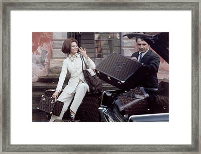 Sophia Loren Wearing An Off-white Shantung Suit Framed Print
