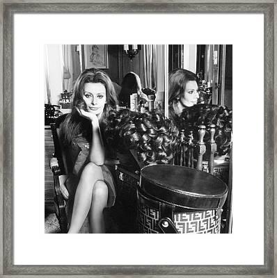 Sophia Loren With A Fendi Hat Box Framed Print