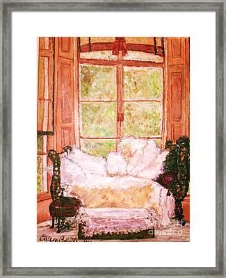 Framed Print featuring the painting Sophia's Sofa by Helena Bebirian