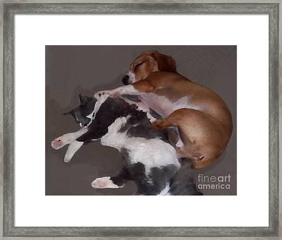 Sophie And Oliver Spooning Framed Print
