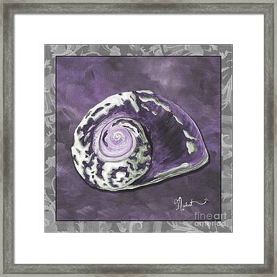 Sophisticated Coastal Art Original Sea Shell Painting Purple Royal Sea Snail By Madart Framed Print by Megan Duncanson