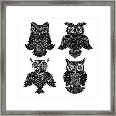 Sophisticated Owls All 4 Framed Print