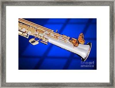 Soprano Saxophone With Butterfly Color Blue 3350.02 Framed Print