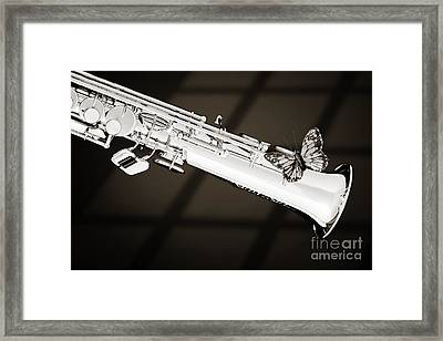 Soprano Saxophone With Butterfly Sepia 3350.01 Framed Print