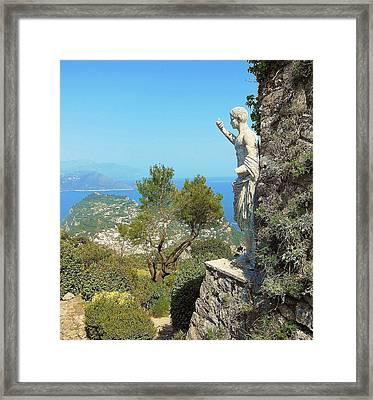Sorrento Peninsula From Mt Solaro Capri  Framed Print by Marilyn Dunlap