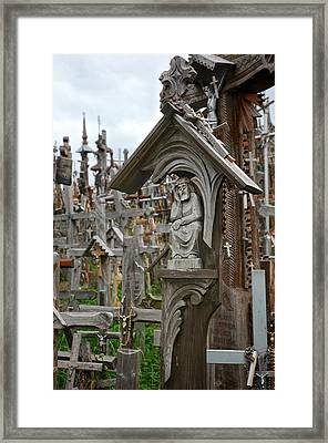 Sorrowful Christ Lithuania Hill Of Crosses Framed Print by Mary Lee Dereske