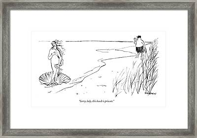 Sorry, Lady, This Beach Is Private Framed Print
