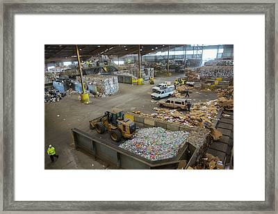Sorted Waste At A Recycling Centre Framed Print