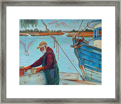 Sorting Shrimp At Frogmore 2 Framed Print