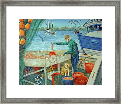 Sorting Shrimp At Frogmore Framed Print