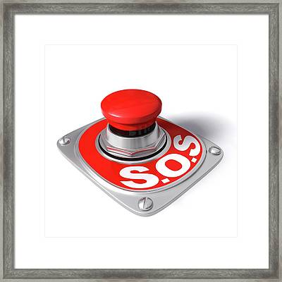 Sos Button Framed Print by Ktsdesign/science Photo Library