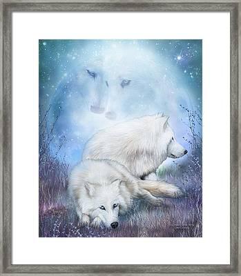 Soul Mates - White Wolves Framed Print by Carol Cavalaris