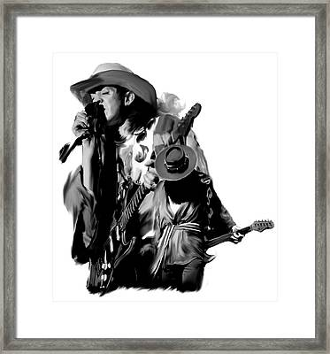 Soul To Soul  Stevie Ray Vaughan Framed Print by Iconic Images Art Gallery David Pucciarelli