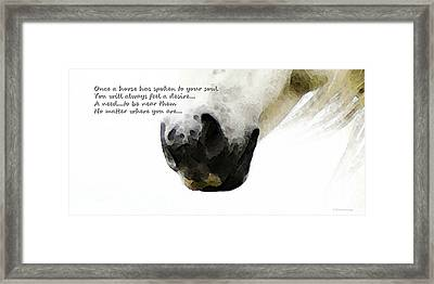 Soul Touch - Emotive Horse Art By Sharon Cummings Framed Print