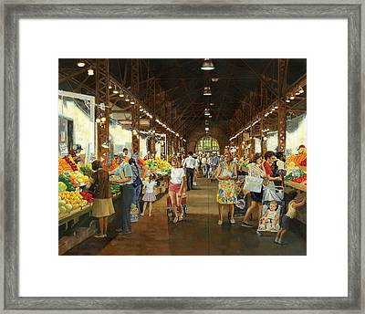 Soulard Market Girl Pulling Wagon Framed Print by Don  Langeneckert