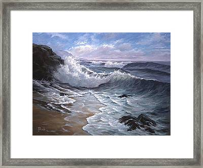 Sounding Waves At Big Sur Framed Print by Del Malonee